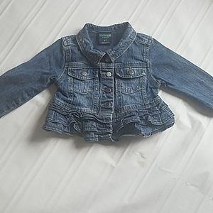 Girls Crop jean jacket with ruffles